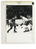 Hockey Collectibles:Photos, Circa 1960s Jean Beliveau Vintage Photograph. In eighteen seasonswith the Montreal Canadiens, HOF legend Jean Beliveau use...