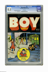 Boy Comics #19 (Lev Gleason, 1944) CGC VF+ 8.5 White pages. Charles Biro cover. Rudy Palais and Dick Briefer art. Overst...