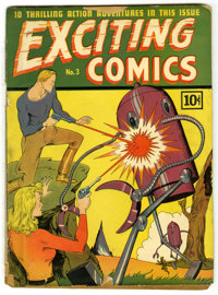 Exciting Comics #3 (Nedor Publications, 1940) Condition: FR. Robot cover. Pages are brittle. Spine split from the top st...