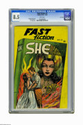 "Golden Age (1938-1955):Classics Illustrated, Fast Fiction #3 Lost Valley pedigree (Seaboard Pub., 1949) CGC VF+8.5 White pages. H. Rider Haggard's ""She,"" adapted by Dic..."