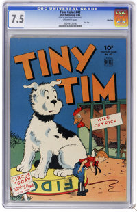 Four Color #42 Tiny Tim - File Copy (Dell, 1944) CGC VF- 7.5 Off-white pages. Overstreet 2006 VF 8.0 value = $126. CGC c...