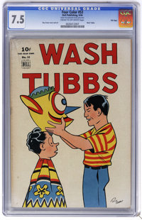 Four Color #53 Wash Tubbs - File Copy (Dell, 1944) CGC VF- 7.5 Cream to off-white pages. Roy Crane cover and art. Overst...