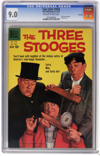 Four Color #1043 The Three Stooges - File Copy (Dell, 1959) CGC VF/NM 9.0 Off-white to white pages. Photo cover. Overstr...