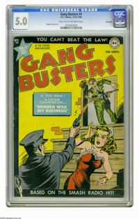 Gang Busters #1 Big Apple pedigree (DC, 1947) CGC VG/FN 5.0 Light tan to off-white pages. George Roussos art. Overstreet...