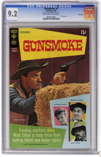Gunsmoke #1 File Copy (Gold Key, 1969) CGC NM- 9.2 Off-white to white pages. Photo cover. Overstreet 2006 NM- 9.2 value...