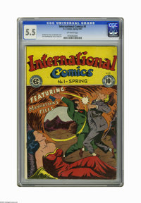 International Comics #1 (EC, 1947) CGC FN- 5.5 Off-white pages. Lee Bachelor cover. Kurt Schaffenberger and Lee Ames art...