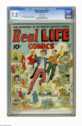 Golden Age (1938-1955):Non-Fiction, Real Life Comics #1 (Nedor Publications, 1941) CGC VF- 7.5 Whitepages. Uncle Sam cover by Alex Schomburg. Daniel Boone stor...