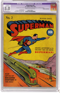 Superman #3 (DC, 1940) CGC Apparent VG/FN 5.0 Extensive (P) Cream to off-white pages. What a terrific cover featuring th...