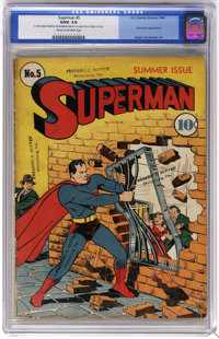 Superman #5 (DC, 1940) CGC GD/VG 3.0 Cream to off-white pages. Lex Luthor (with red hair) makes his fourth appearance. J...