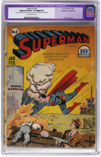 Superman #8 (DC, 1941) CGC Apparent FR/GD 1.5 Slight (P) Slightly brittle pages. Fred Ray cover. Interior art by Wayne B...