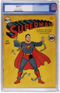 Superman #11 (DC, 1940) CGC FR/GD 1.5 Cream to off-white pages. Fred Ray cover art. Paul Cassidy art (ghosting for Joe S...