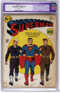 Superman #12 (DC, 1941) CGC Apparent FR 1.0 Slight (A) Brittle pages. Lex Luthor appearance. Fred Ray cover. Henry Bolti...