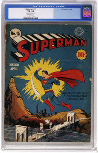 Superman #15 (DC, 1942) CGC VG- 3.5 Off-white pages. Fred Ray delivers a great Superman cover depicting the Man of Steel...