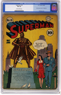 Superman #16 (DC, 1942) CGC FR 1.0 Slightly brittle pages. First Lois Lane cover in this title. Fred Ray cover. John Sik...