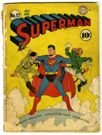 Superman #17 (DC, 1942) Condition: FR. Fred Ray cover. Hitler and Hirohito cover and appearances. John Sikela art. First...