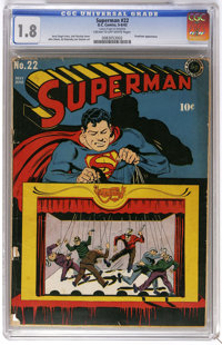 Superman #22 (DC, 1943) CGC GD- 1.8 Cream to off-white pages. Superman is pulling the strings on this Jack Burnley cover...