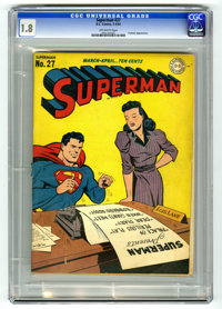 Superman #27 (DC, 1944) CGC GD- 1.8 Off-white pages. Toyman appearance. Wayne Boring cover. Ed Dobrotka art. Overstreet...