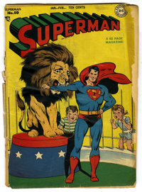 Superman #50 (DC, 1948) Condition: PR. Circus cover. Wayne Boring cover and art. Win Mortimer art. Cover is detached. Ov...