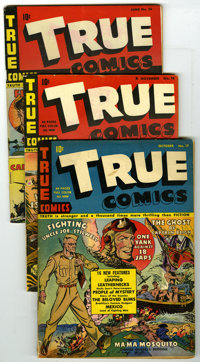 True Comics Group (True, 1942-46) Condition: Average VG. Lot of eight comics contains True Comics #17, 18 (Story of Amer...