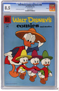 Silver Age (1956-1969):Humor, Walt Disney's Comics and Stories #208 File Copy (Dell, 1958) CGC VF+ 8.5 Off-white pages. Carl Barks cover and art. Overstre...