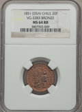 Chile, Chile: Republic Essai 20 Francs in bronze 1851 MS64 Red and Brown NGC,...