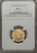Philippines, Philippines: Spanish Colony - Isabel II gold 4 Pesos 1868 MS61 NGC,...