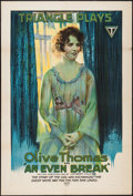 "Movie Posters:Comedy, An Even Break (Triangle, 1917). One Sheet (27.5"" X 41""). Comedy.. ..."