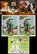 """Movie Posters:Animation, 101 Dalmatians & Other Lot (Buena Vista, R-1969). Title Lobby Card, Lobby Cards (2) (11"""" X 14""""), French Lobby Cards (2) (9.5... (Total: 6 Items)"""