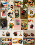Miscellaneous:Postcards, [Postcards]. Group of Twenty Thanksgiving Postcards. Ca. 1910. Mostare used. Some rubbing and soiling. Very good. From th...