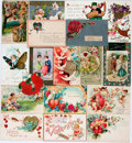 Miscellaneous:Postcards, [Postcards]. Group of Sixteen Valentine's Day Postcards. Ca. 1910.Most are used. Some rubbing and soiling. Very good. Fro...