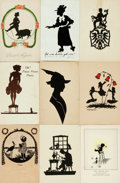 Miscellaneous:Postcards, [Postcards]. Group of Nine German Silhouette-Style Postcards. Ca.1910. Some are used. Some mild toning and rubbing. Very go...