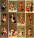 Miscellaneous:Ephemera, Twelve Cards Depicting Children with Gilt Backgrounds. Slightlysmaller than postcards. Some have adhesive residue to versos...