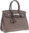 "Luxury Accessories:Bags, Hermes 30cm Gris Tourterelle Ostrich Birkin Bag with PalladiumHardware. Pristine Condition. 12"" Width x 8"" Height x6..."