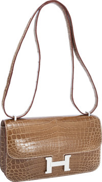 Hermes Shiny Ficelle Nilo Crocodile Double Gusset Constance Elan Bag with Palladium Hardware Excellent to Prist