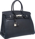 "Luxury Accessories:Bags, Hermes 35cm Indigo Evergrain Leather Birkin Bag with PalladiumHardware. Very Good Condition. 14"" Width x 10"" Heightx..."