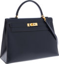 "Luxury Accessories:Bags, Hermes 32cm Blue Marine Calf Box Leather Sellier Kelly Bag with Gold Hardware. Good Condition. 12.5"" Width x 9"" Height..."