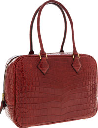 Hermes 28cm Matte Rouge H Nilo Crocodile Plume Bag with Gold Hardware Very Good to Excellent Condition<