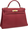 "Luxury Accessories:Bags, Hermes 32cm Rouge H Chevre Leather Retourne Kelly Bag with GoldHardware. Excellent Condition. 12.5"" Width x 9""Height..."