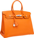 "Luxury Accessories:Bags, Hermes 35cm Orange H Epsom Leather Birkin Bag with Palladium Hardware. Excellent Condition. 14"" Width x 10"" Height x 7..."