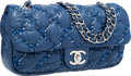 "Luxury Accessories:Bags, Chanel Blue Nylon Bubble Flap Bag with Tweed Stitching & SilverHardware. Excellent Condition. 11"" Width x 5.5""Height..."