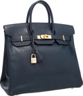 "Luxury Accessories:Bags, Hermes 32cm Blue Marine Courchevel Leather HAC Birkin Bag with GoldHardware. Good to Very Good Condition. 12.5"" Width..."