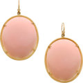 Estate Jewelry:Earrings, Ippolita Rose Quartz, Diamond, Gold Earrings. ...