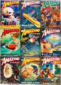 Books:Pulps, [Pulps]. Nine Issues of Amazing Stories. 1940s. Originalprinted wrappers. Some with tape reinforcement to spine end...(Total: 9 Items)