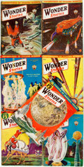 Books:Pulps, [Pulps]. Seven Issues of Wonder Stories. 1932-1933. Originalprinted wrappers. Tattered edges. Some dust staining. O... (Total:7 Items)