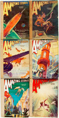 Books:Pulps, [Pulps]. Six Issues of Amazing Stories. 1931-1932. Originalprinted wrappers, rebacked. Some dust staining. Biopreda... (Total:6 Items)