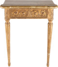 Furniture : French, A LOUIS XVI-STYLE PAINTED AND PARCEL GILT CONSOLE TABLE, late 19th century. 34 x 27-3/4 x 14-3/4 inches (86.4 x 70.5 x 37.5 ...