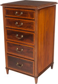 Furniture , AN EDWARDIAN MAHOGANY AND SATINWOOD FIVE-DRAWER CHEST, early 20th century. 36 x 20 x 19-3/4 inches (91.4 x 50.8 x 50.2 cm). ...