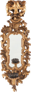 Decorative Arts, Continental:Lamps & Lighting, A VENETIAN GILT WOOD MIRRORED WALL SCONCE, early 20th century. 35inches high (88.9 cm). ...
