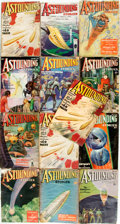 Books:Pulps, [Pulps]. Thirteen Issues of Astounding Stories. 1936-1937.Original printed wrappers. Tattered edges. Some loss to s...(Total: 13 Items)