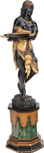 Decorative Arts, Continental:Other , A VENETIAN CARVED AND PAINTED BLACKAMOOR FIGURE, 19th century. 53-1/2 inches high (135.9 cm). ...